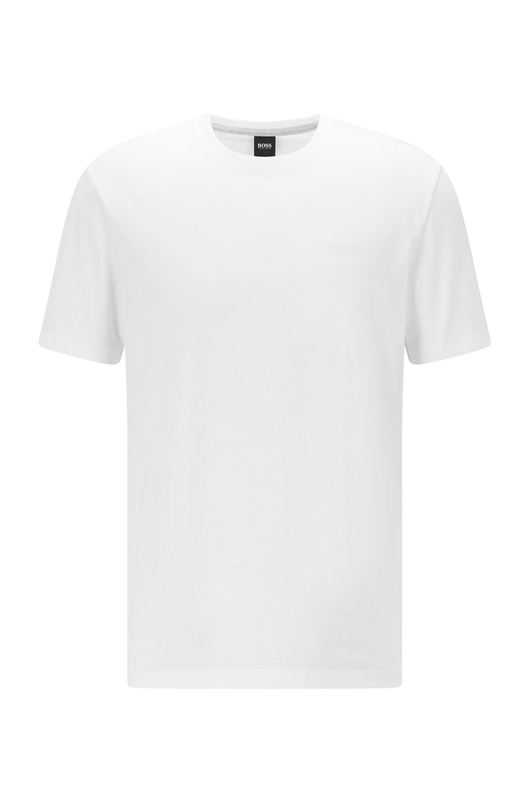Logo-T-shirt van zuivere, vloeiend afgewerkte katoen, Wit