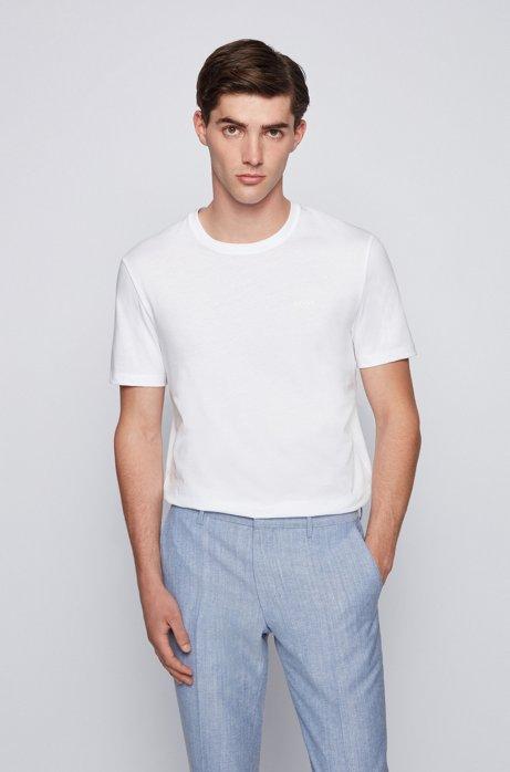 Crew-neck logo T-shirt in liquid-finish cotton, White