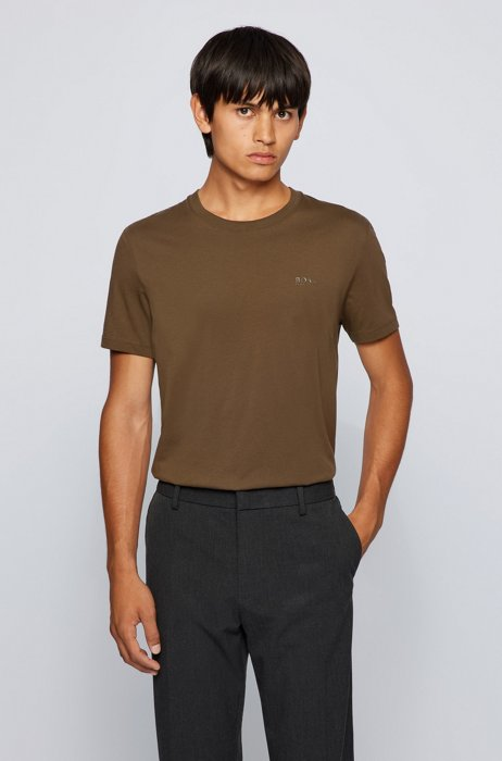 Logo T-shirt in pure cotton with liquid finishing, Brown