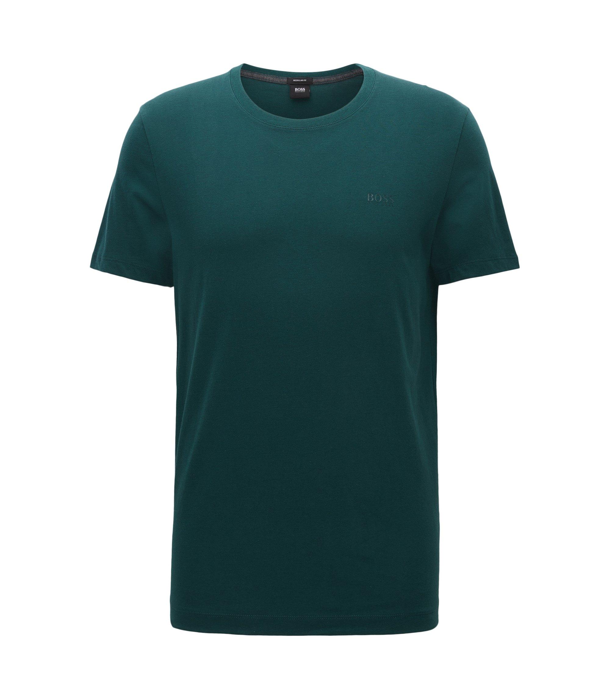 Camiseta regular fit en algodón suave, Verde oscuro