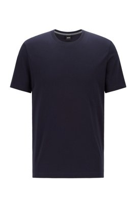 Logo T-shirt in pure cotton with liquid finishing, Dark Blue