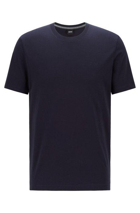 T-shirt a girocollo in cotone con finitura liquida e logo, Blu scuro