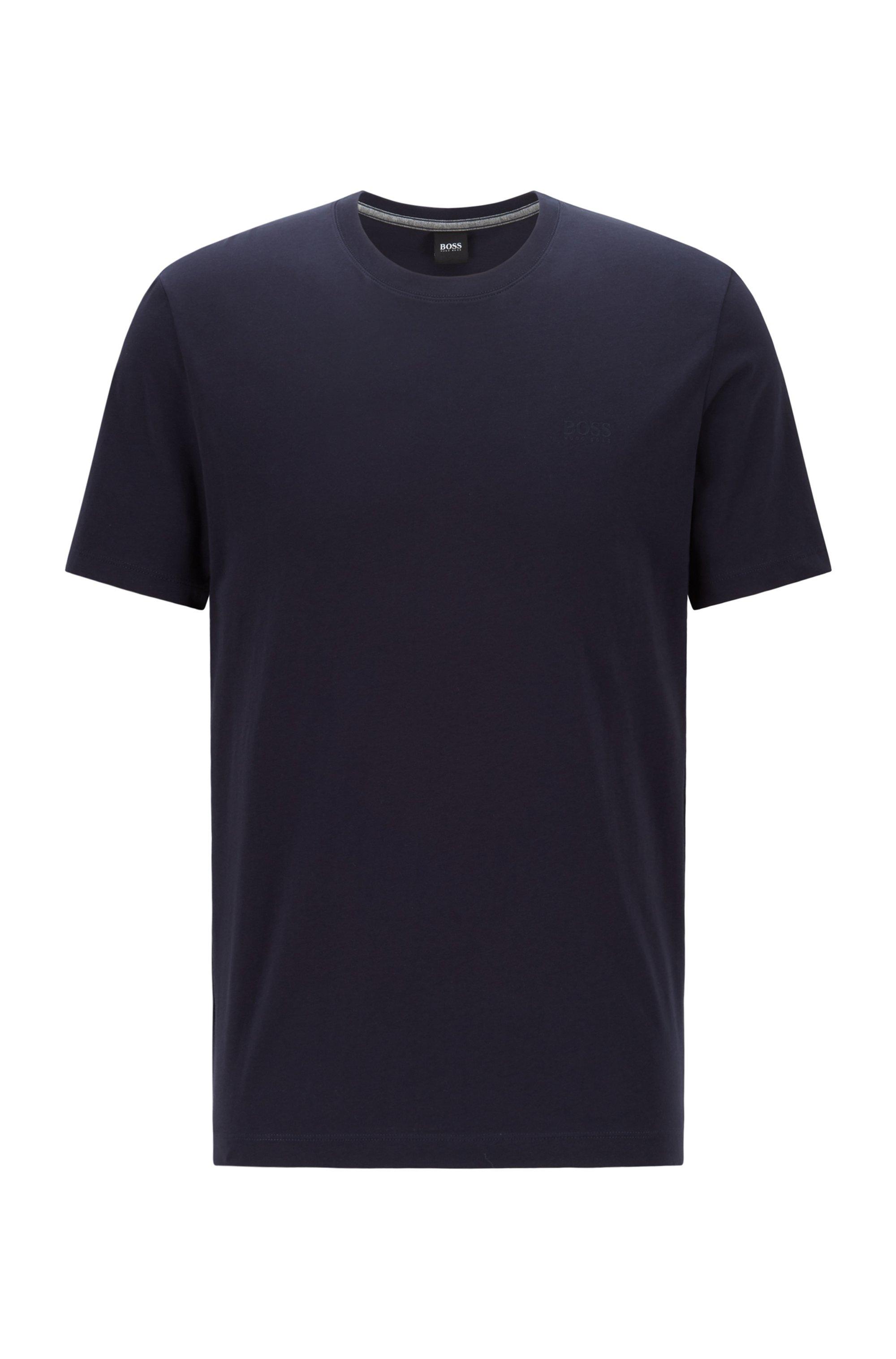 T-shirt à logo en coton pur à la finition fluide, Bleu foncé