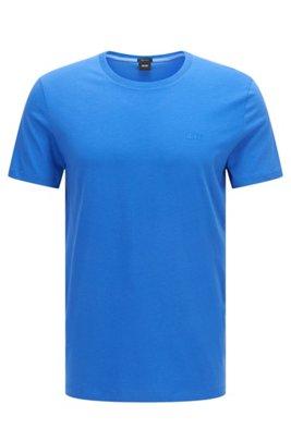 T-shirt à logo en coton pur à la finition fluide, Bleu