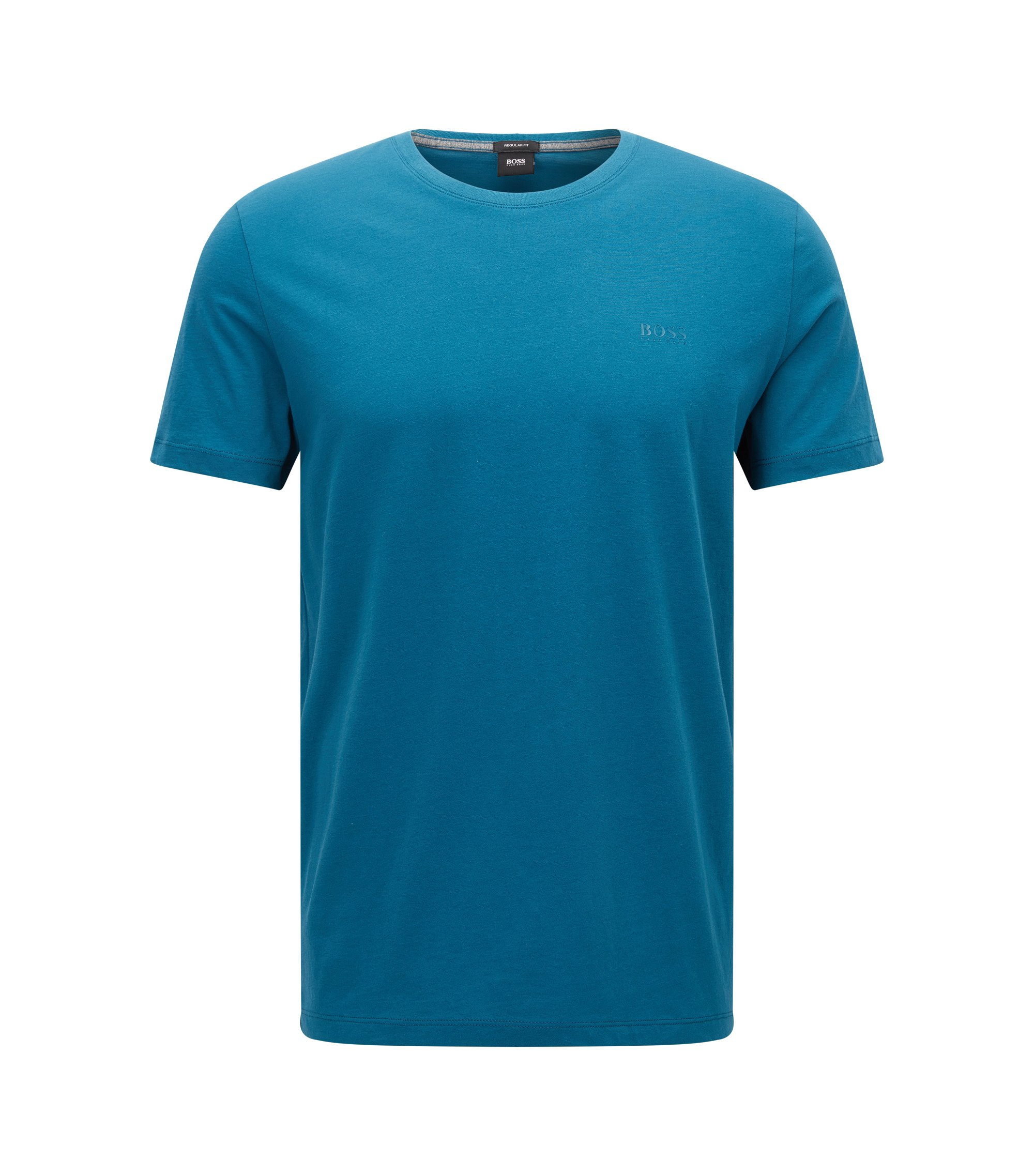 Regular-fit T-shirt in soft cotton, Turquoise