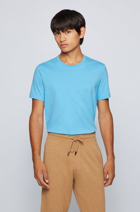 Logo T-shirt in pure cotton with liquid finishing, Light Blue