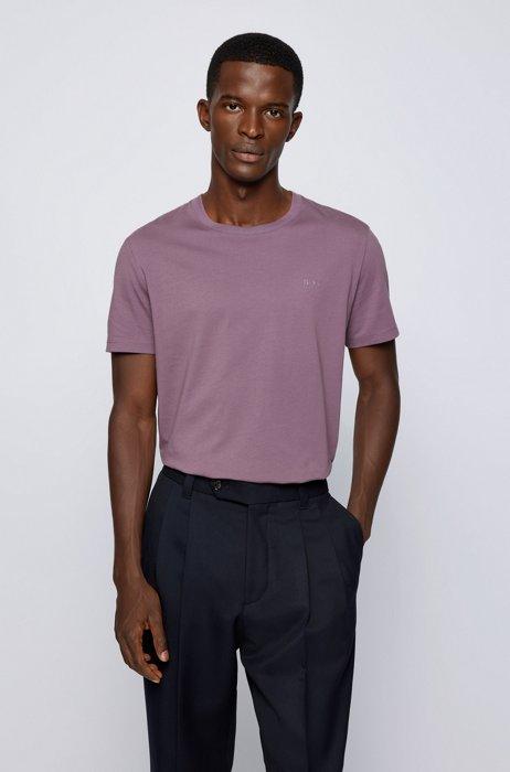 Logo T-shirt in pure cotton with liquid finishing, Purple