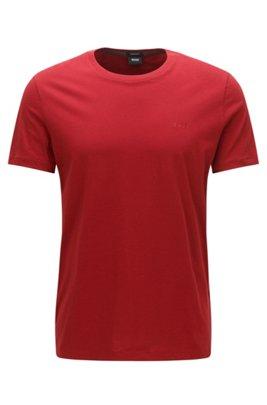 T-shirt à logo en coton pur à la finition fluide, Rouge
