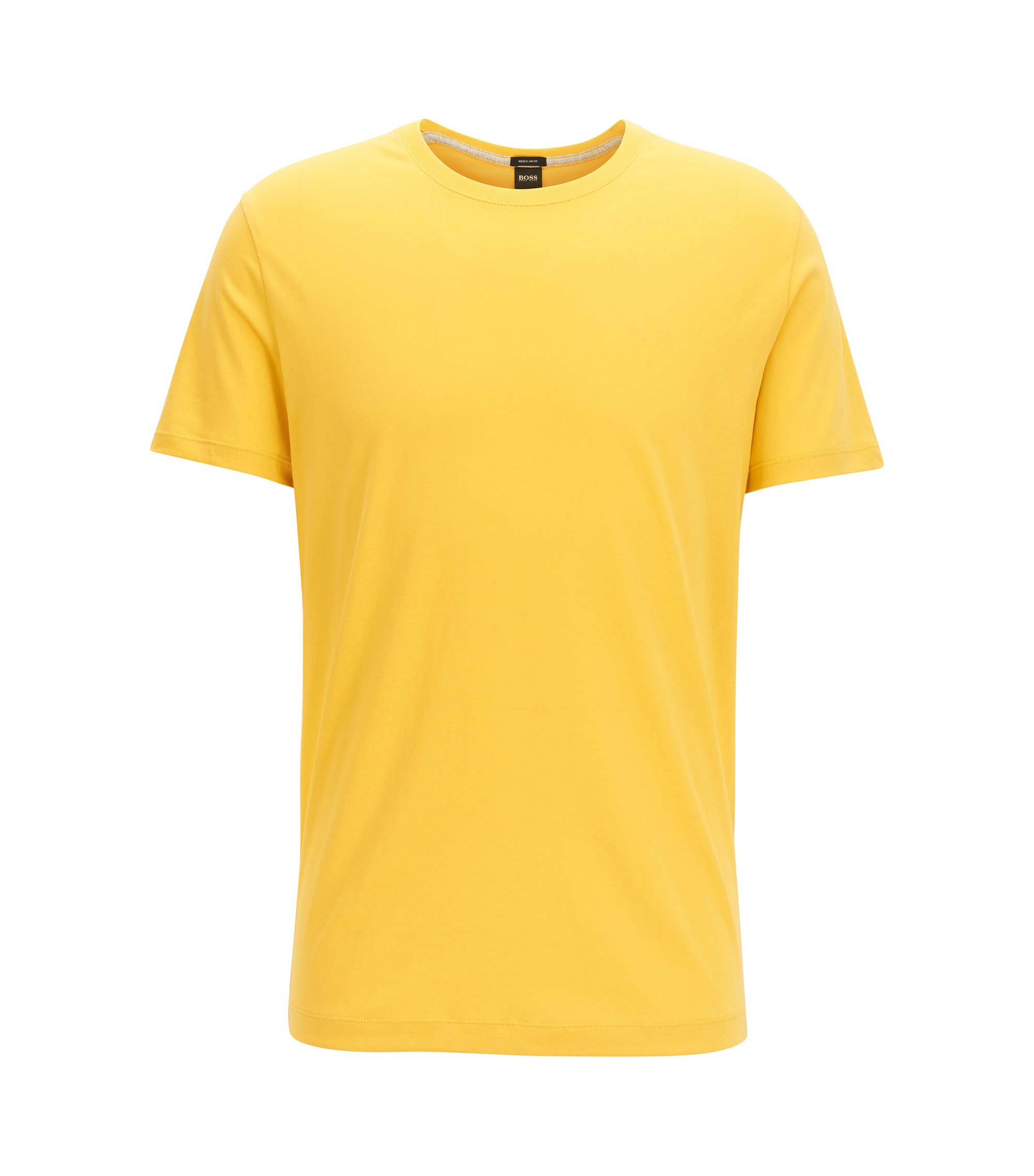 T-shirt regular fit in morbido cotone, Giallo