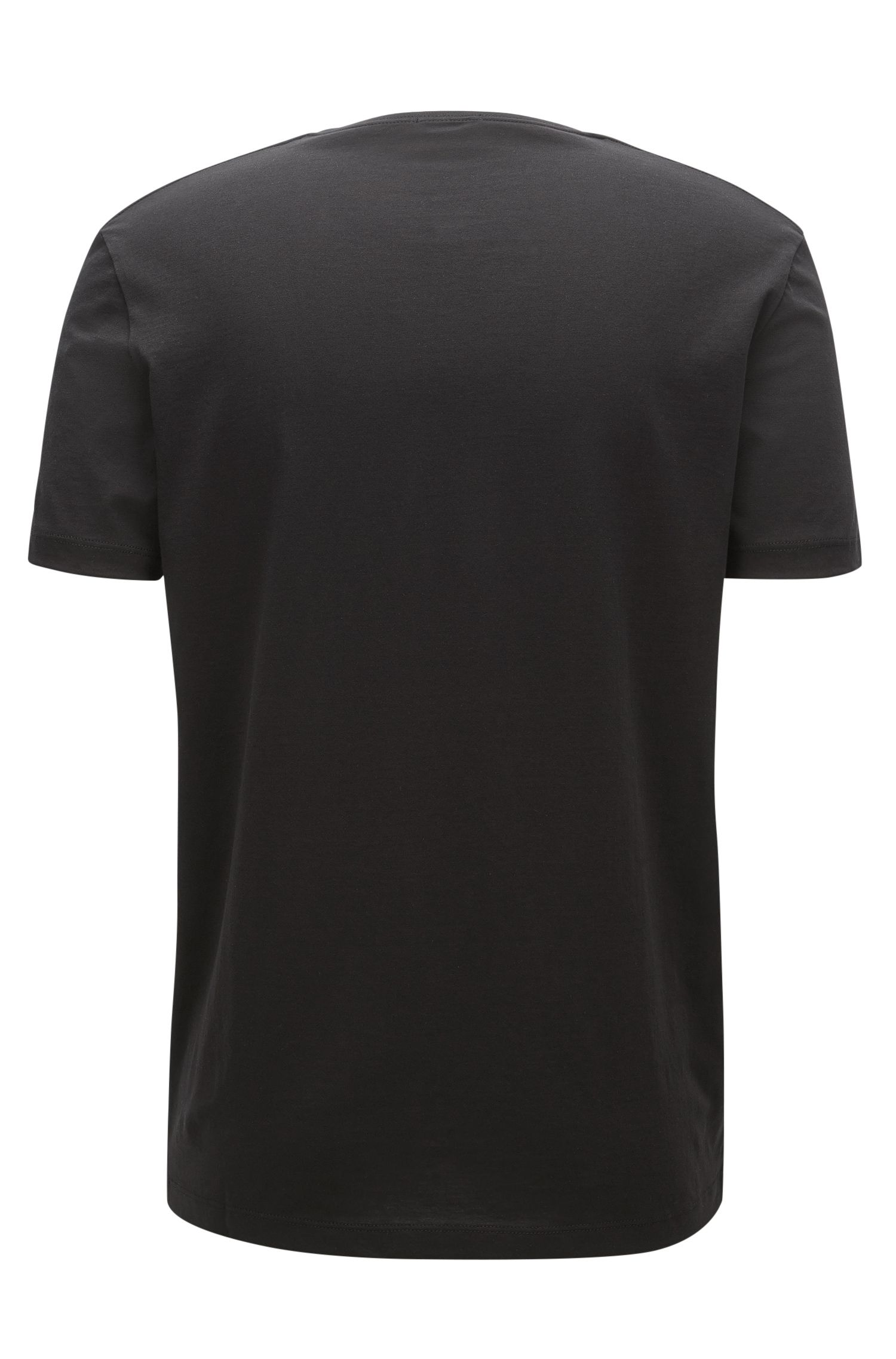 T-shirt Regular Fit en jersey simple, Noir