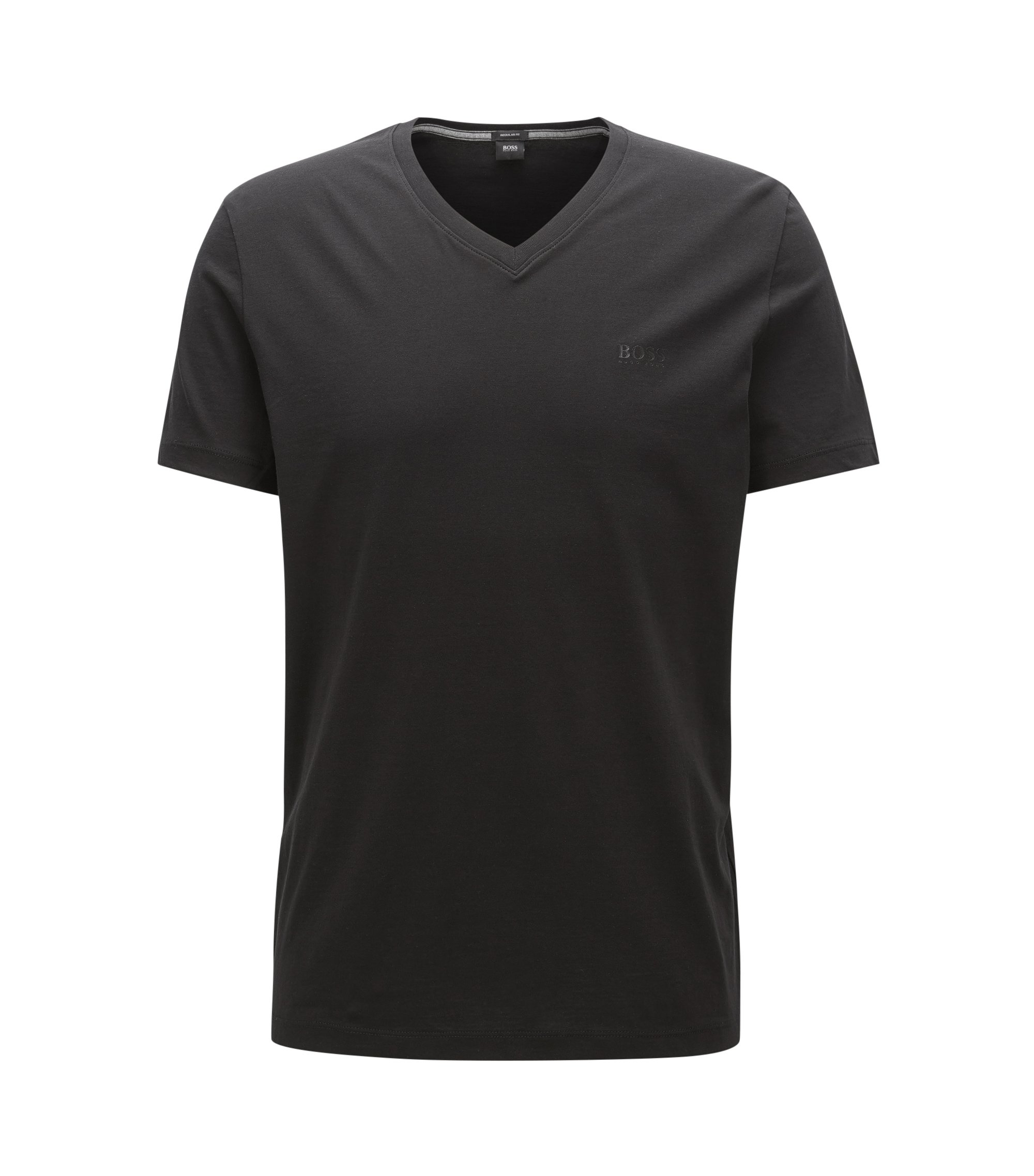 Regular-fit T-shirt van single jersey, Zwart