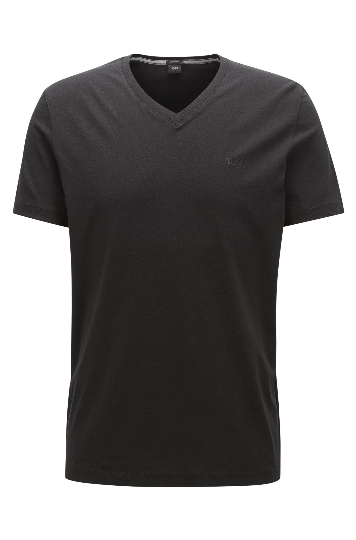 Regular-fit T-shirt in single jersey, Black