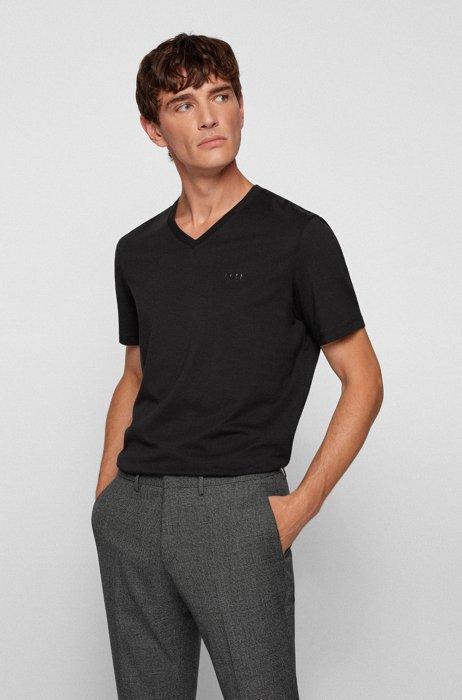 V-neck T-shirt in cotton jersey, Black