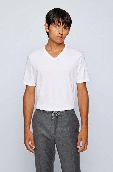 T-shirt à col V en jersey de coton, Blanc