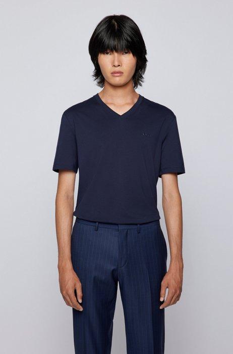 V-neck T-shirt in cotton jersey, Dark Blue