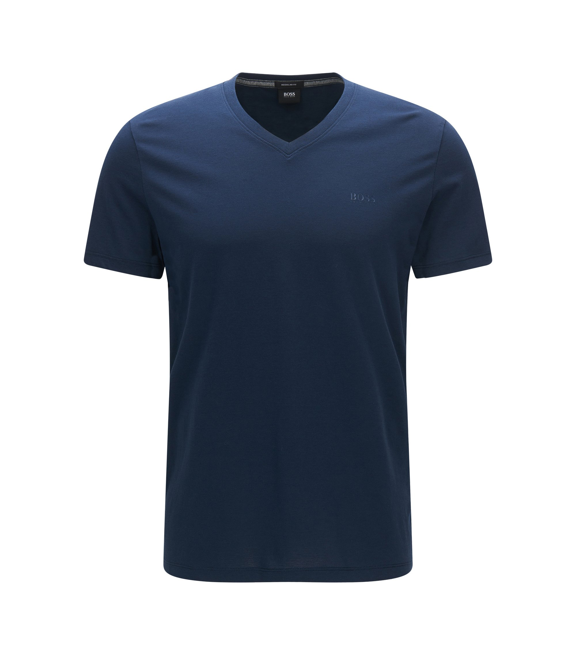 T-shirt Regular Fit en jersey simple, Bleu foncé