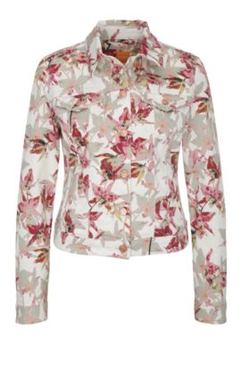 Jeans jacket in stretch cotton blend with a floral pattern: 'Orange J90 Portland', Natural