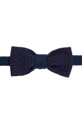 Nœud papillon en maille de coton à motif: «Bow tie knitted», Bleu foncé