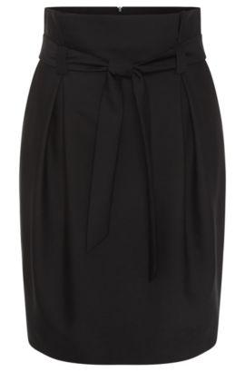 Falda en mezcla de lana con parte de algodón: 'Rosara', Negro