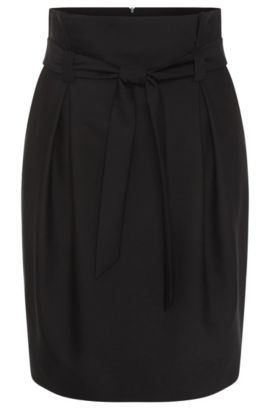Skirt in wool blend with cotton percentage: 'Rosara', Black