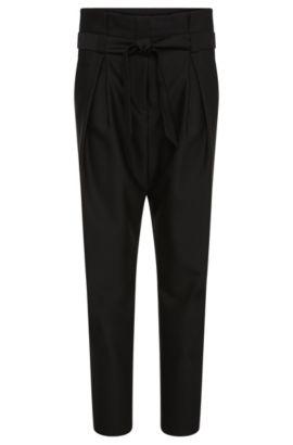 Pantalón de talle alto en mezcla de lana con algodón: 'Hindas', Negro