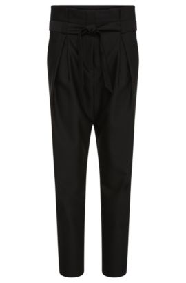 High-waisted trousers in a woollen blend with cotton: 'Hindas', Black