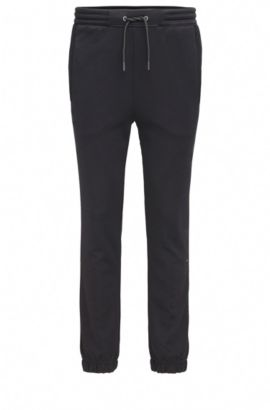 Regular-fit jogging trousers in cotton blend, Black