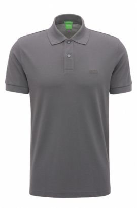 Polo regular fit en piqué de punto, Gris marengo