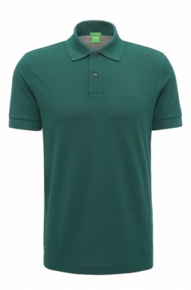 Regular-fit polo shirt in knitted piqué, Dark Green