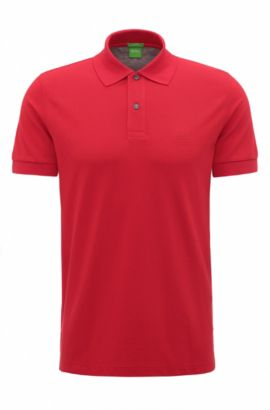 Regular-fit polo shirt in knitted piqué, Red