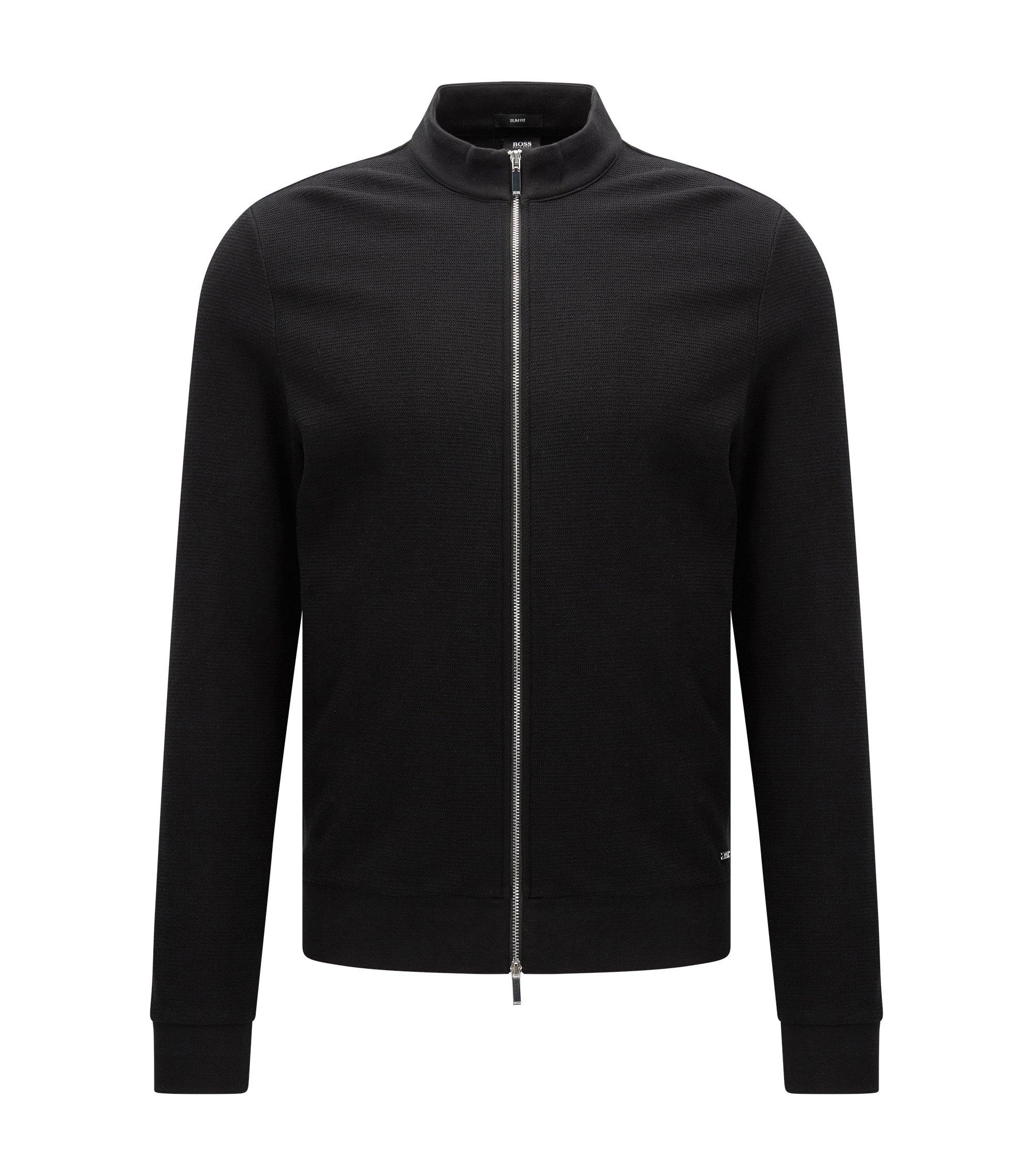 Slim-fit sweatshirt van katoen met rits, Zwart