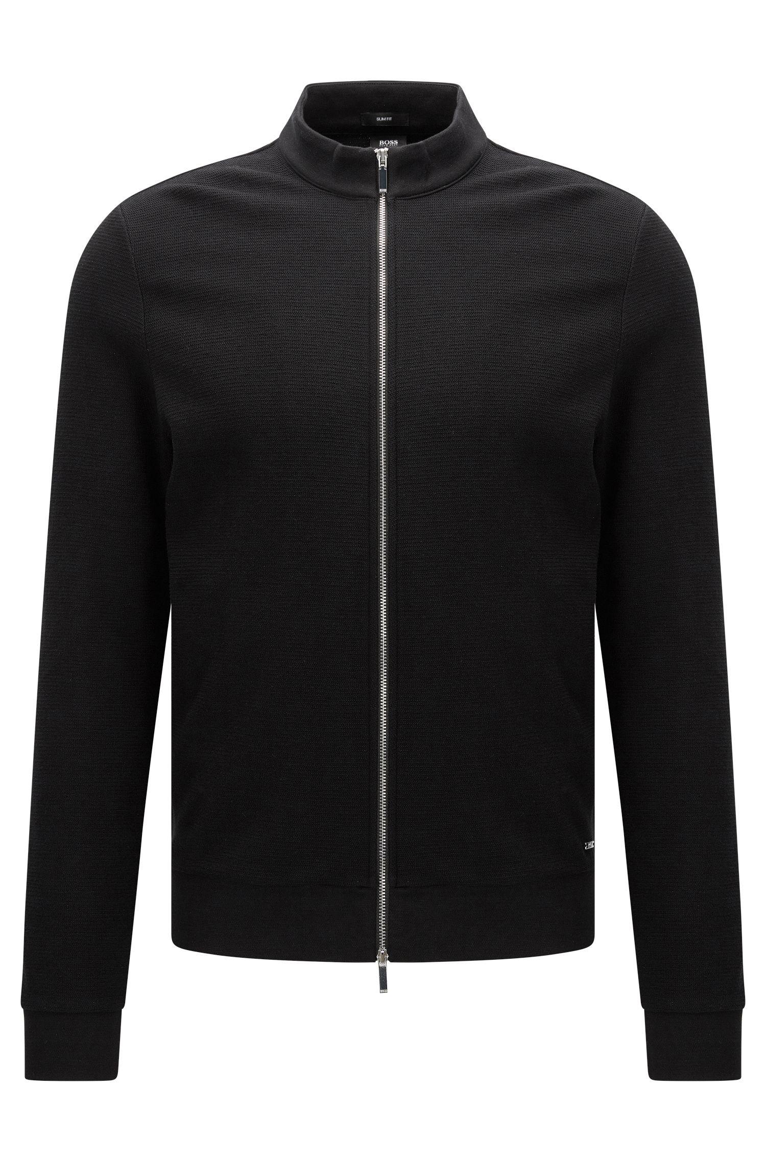 Slim-fit sweatshirt van katoen met rits