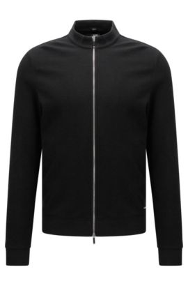 Sweat zippé Slim Fit en coton, Noir