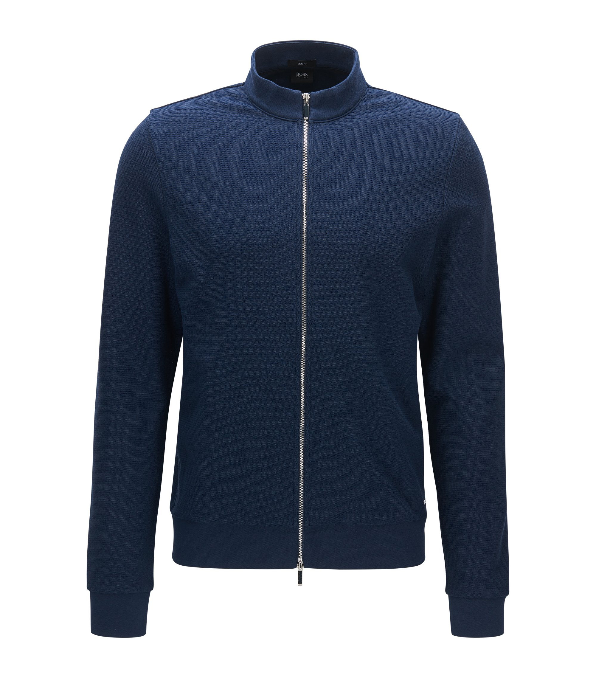 Slim-fit zip-through cotton sweatshirt, Dark Blue
