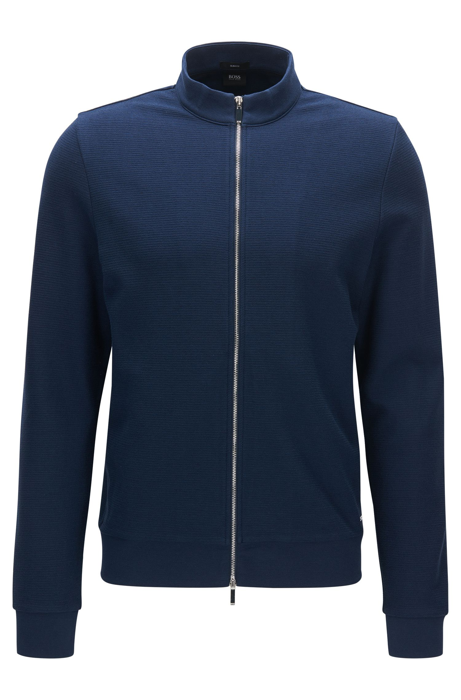 Slim-fit zip-through cotton sweatshirt