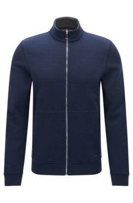 Zweiseitige Regular-Fit Sweatjacke, Dunkelblau
