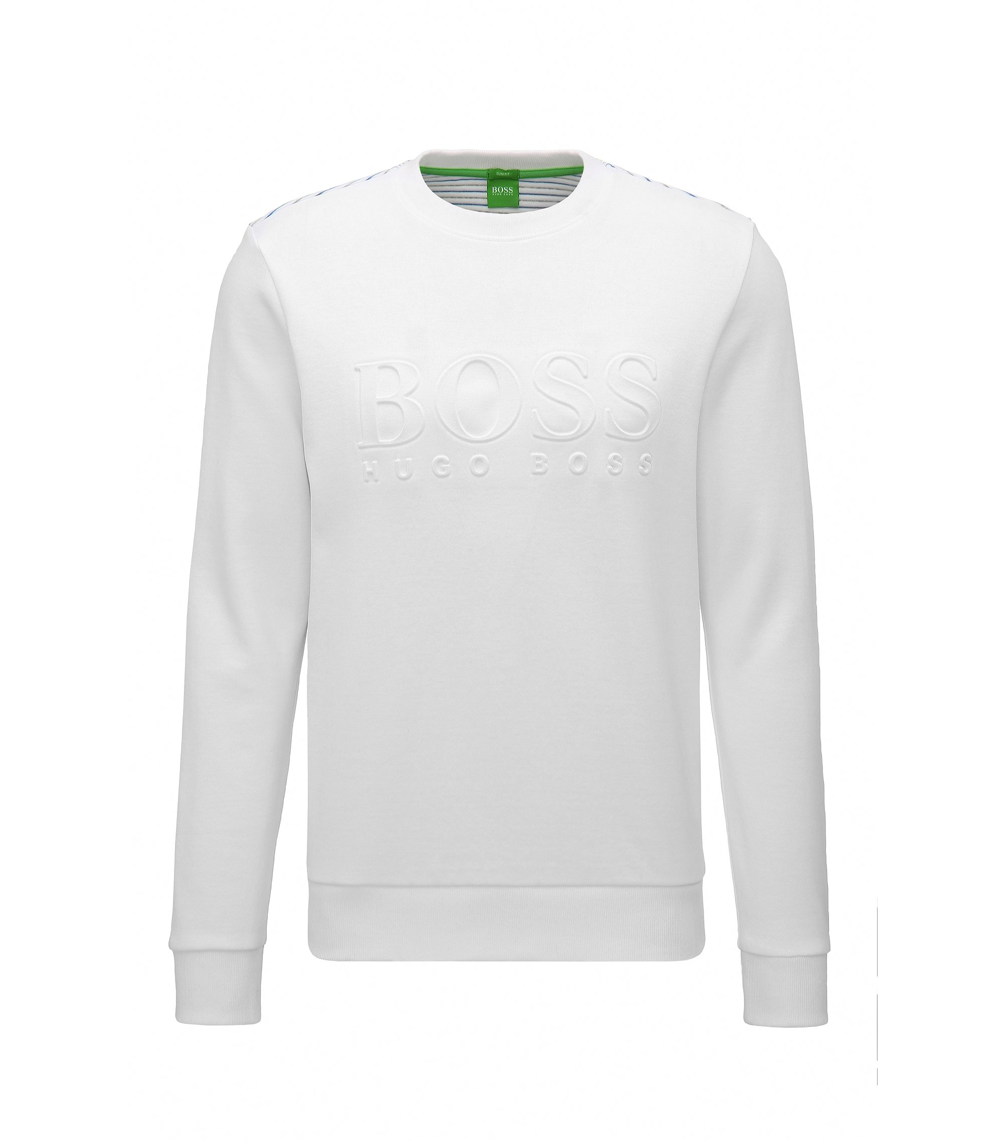 Slim-fit cotton-blend sweatshirt with embossing, White