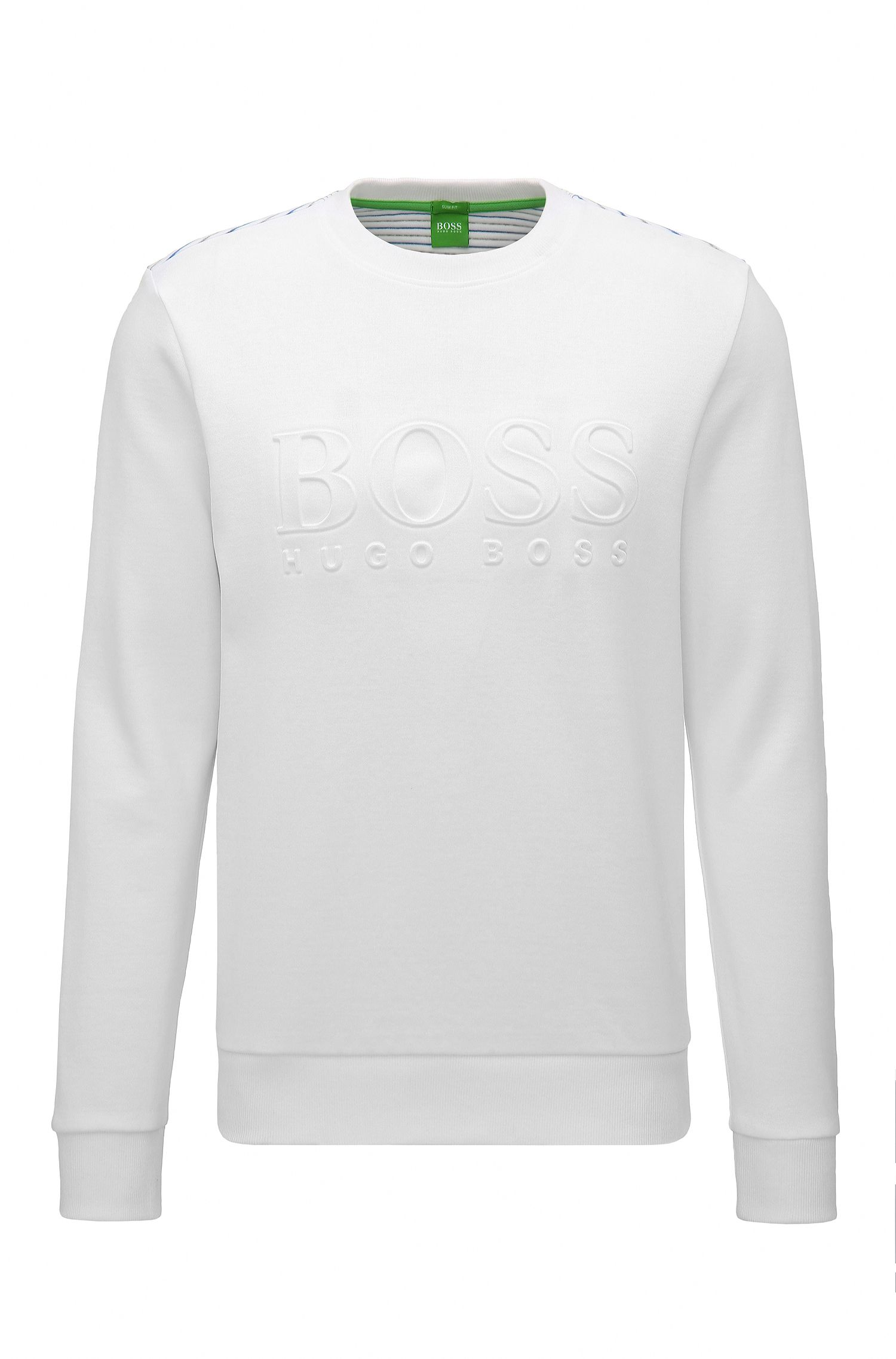 Sweat Slim Fit en coton mélangé avec logo en relief