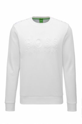 Sweat Slim Fit en coton mélangé avec logo en relief, Blanc