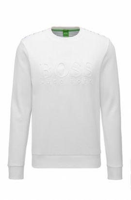Sweat Slim Fit en coton mélangé avec logo en relief, Blanc