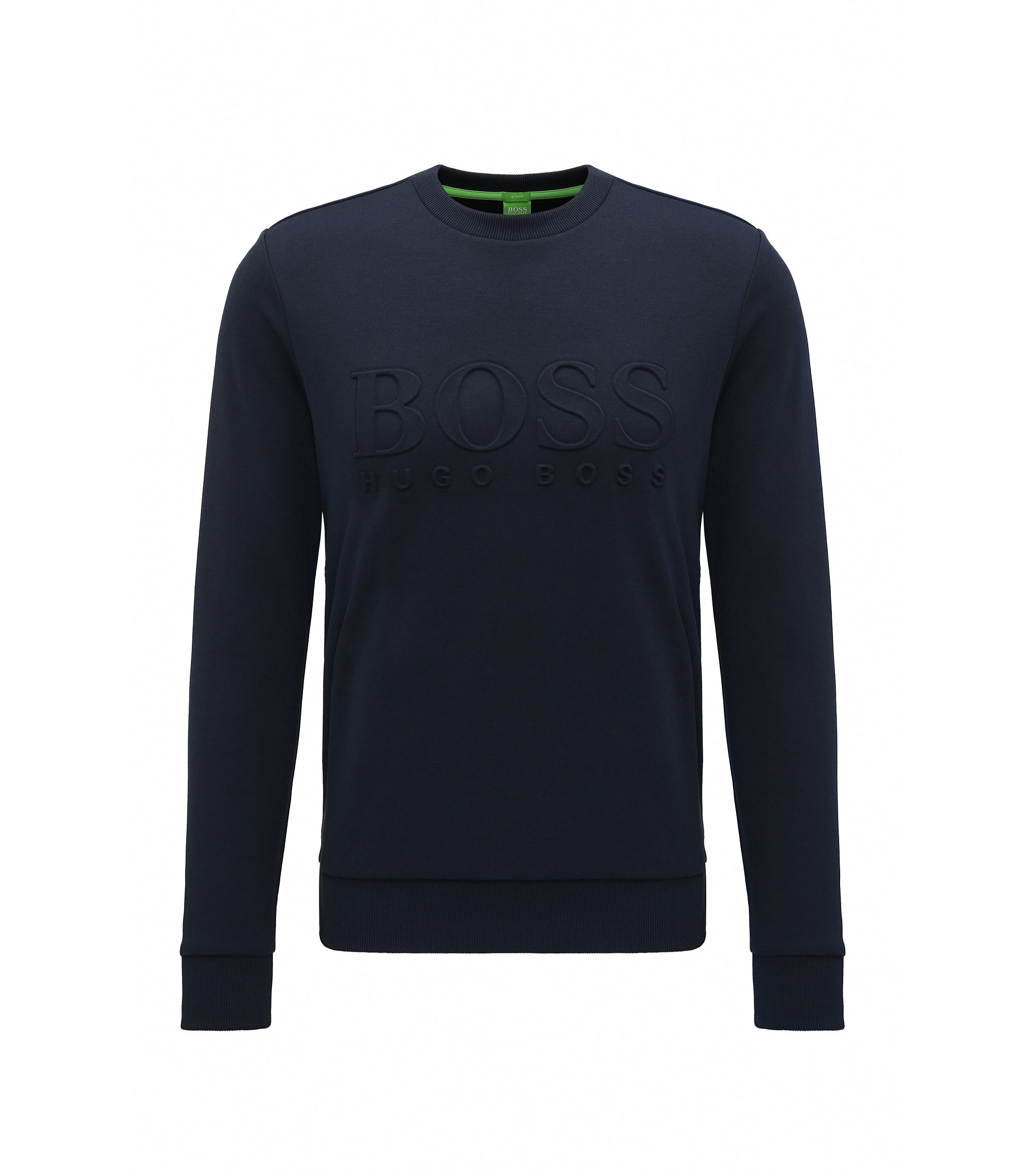 Slim-fit cotton-blend sweatshirt with embossing, Dark Blue