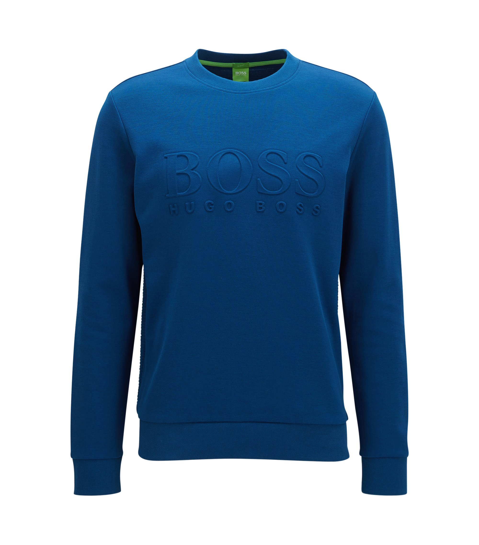 Slim-fit cotton-blend sweatshirt with embossing, Blue