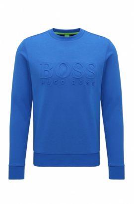 Slim-Fit Sweatshirt aus Baumwoll-Mix mit Logo-Prägung, Hellblau