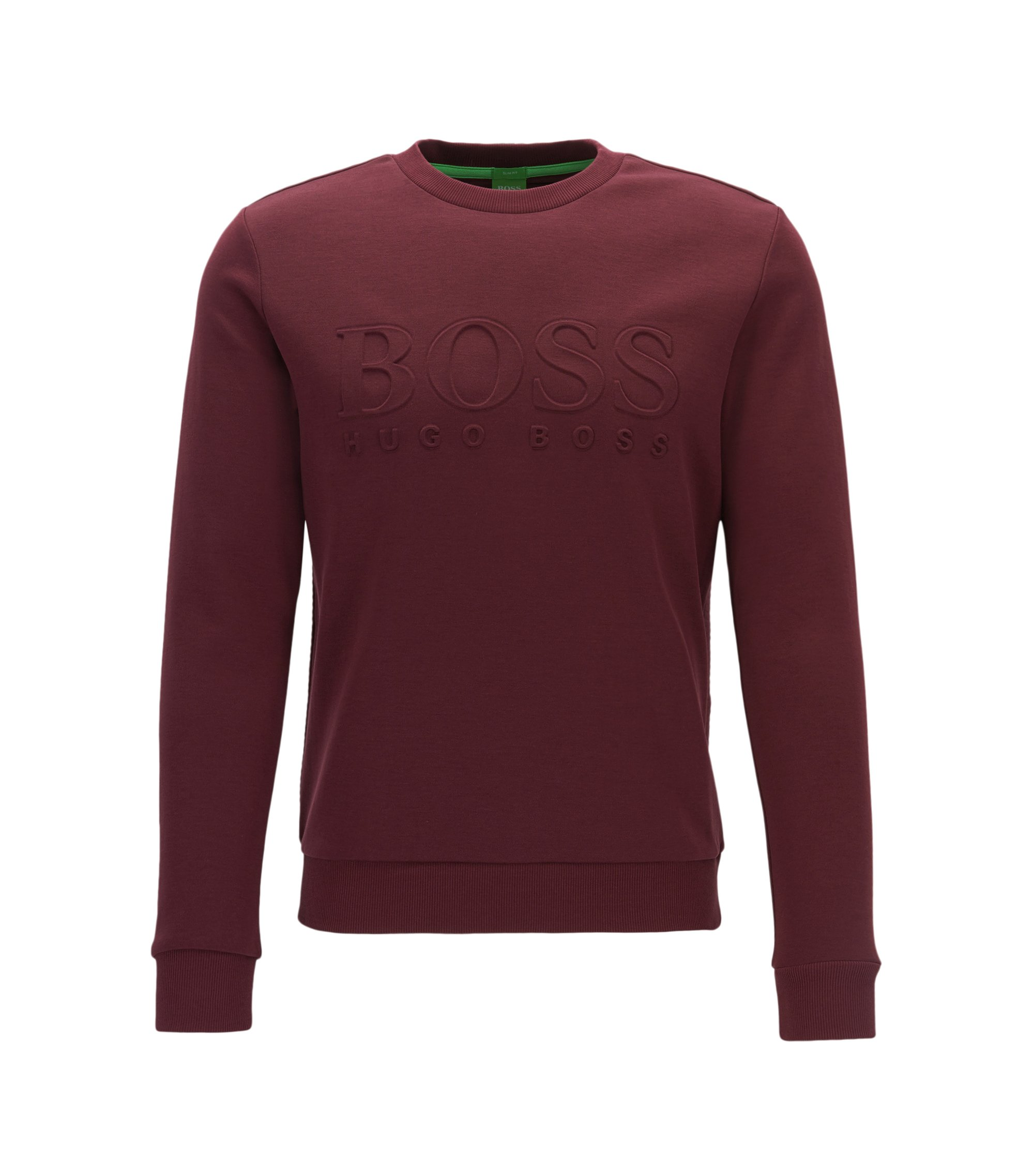 Slim-fit cotton-blend sweatshirt with embossing, Red