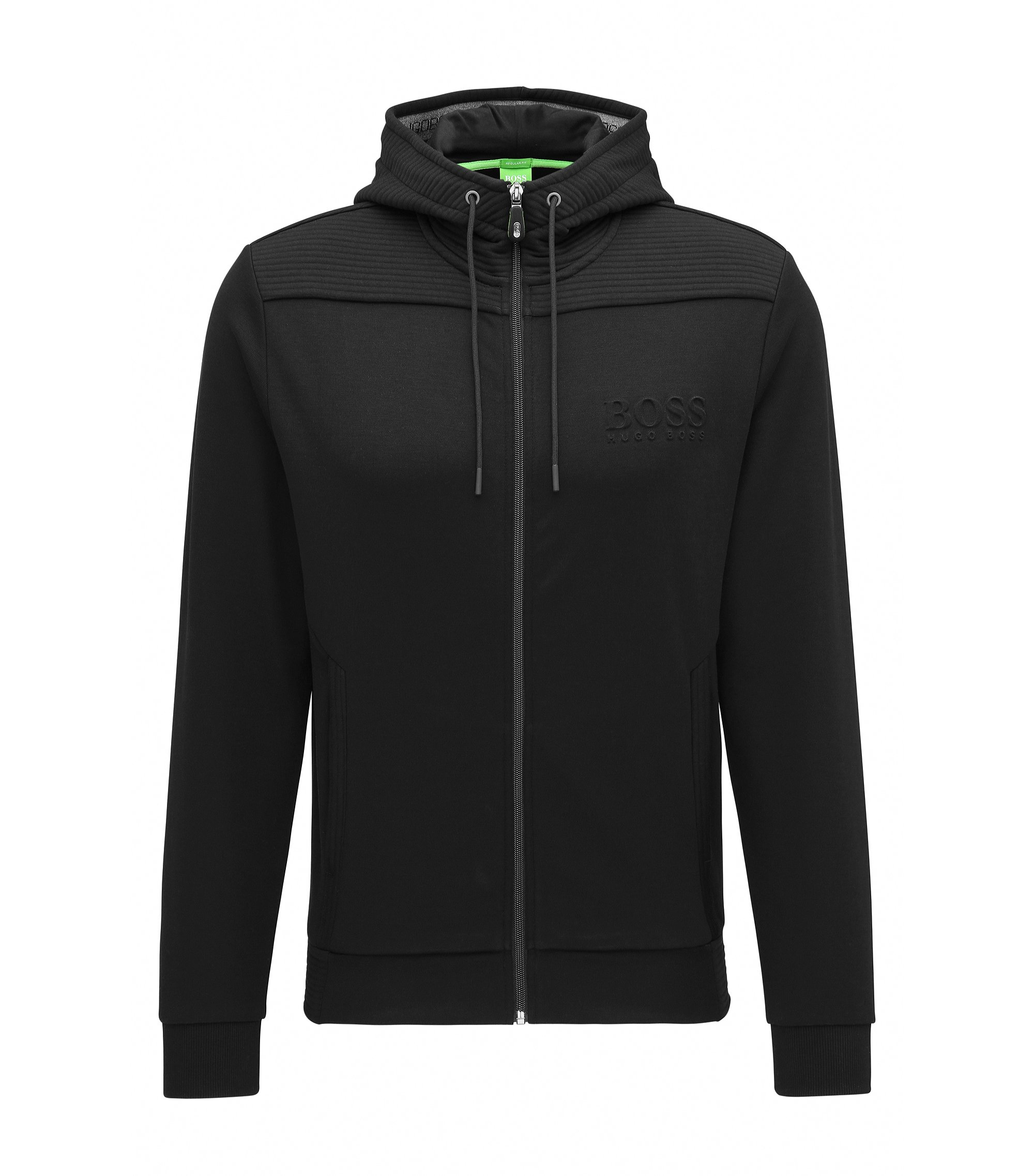 Regular-Fit Kapuzen-Sweatshirt aus Baumwoll-Mix, Schwarz