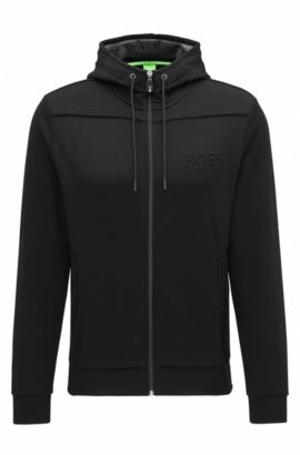 Regular-Fit Kapuzen-Sweatshirt aus Baumwoll-Mix, Schwarz