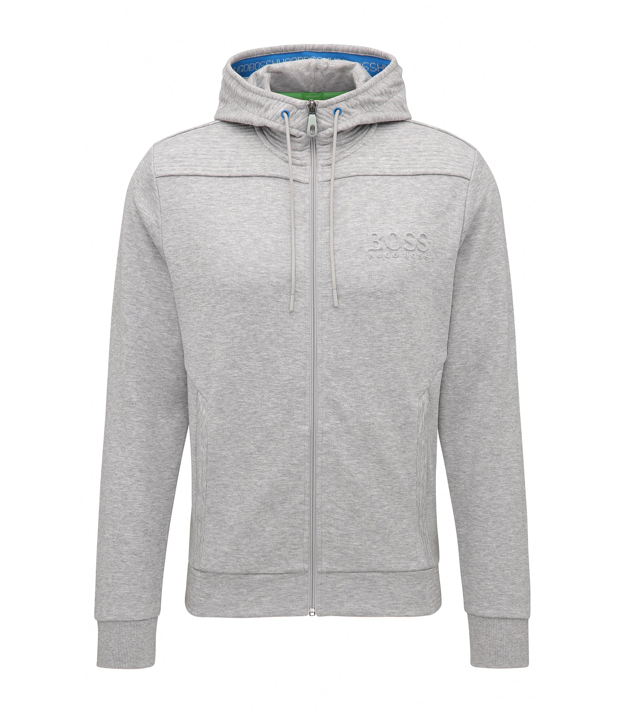 Sweat à capuche Regular Fit en coton mélangé, Gris chiné