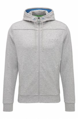Regular-fit hooded sweatshirt in cotton blend, Light Grey