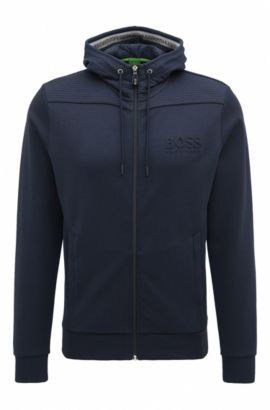 Regular-Fit Kapuzen-Sweatshirt aus Baumwoll-Mix, Dunkelblau