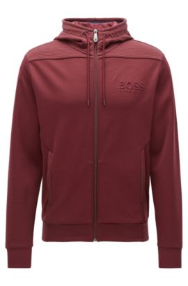 Regular-Fit Kapuzen-Sweatshirt aus Baumwoll-Mix, Dunkelrot